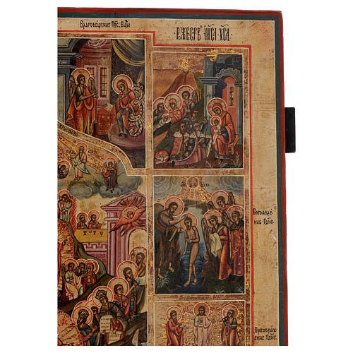 Icona le 12 feste antica Russa 54x37 cm 5
