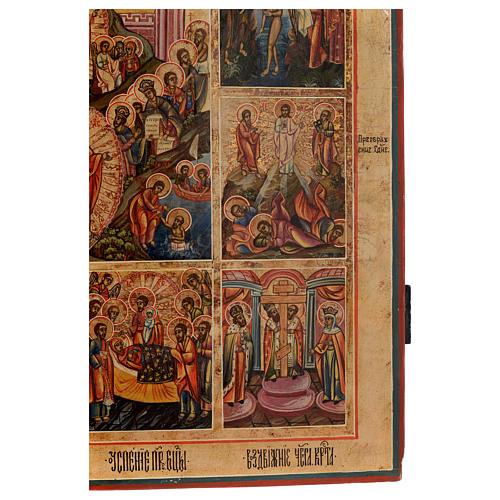 Icona le 12 feste antica Russa 54x37 cm 6