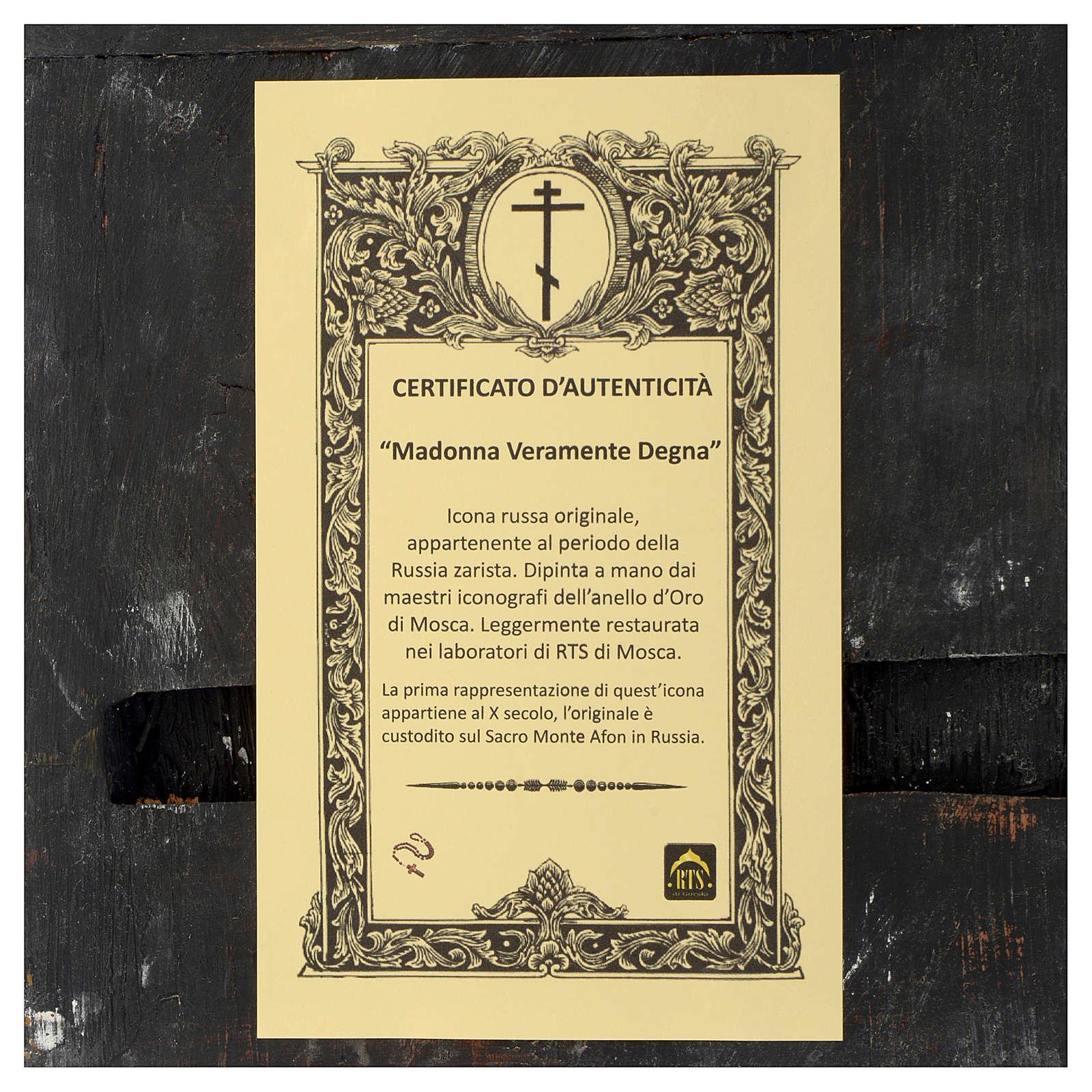 Icona antica russa Madonna Veramente Degna 30x25 cm epoca zarista 4