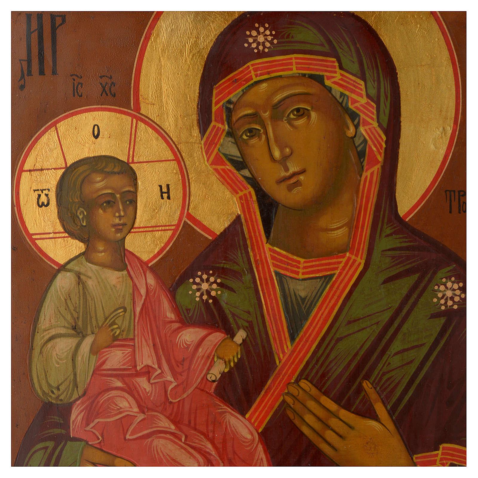 Icona antica russa Madonna delle Tre Mani 30x25 cm epoca zarista 4
