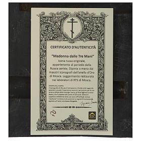 Icona antica russa Madonna delle Tre Mani 30x25 cm epoca zarista s4