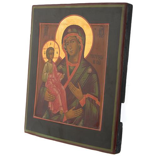 Icona antica russa Madonna delle Tre Mani 30x25 cm epoca zarista 3