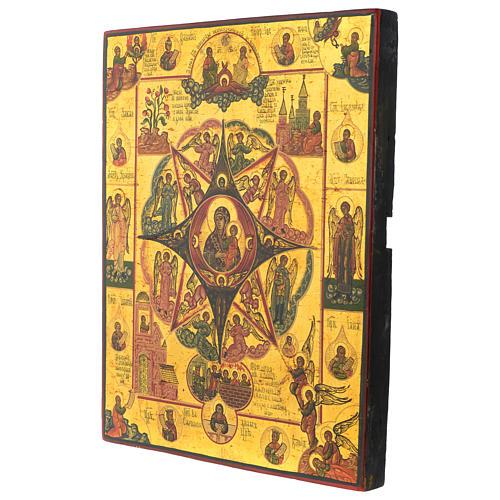 Icona antica russa Roveto Ardente 30x40 cm epoca zarista restaurata 3