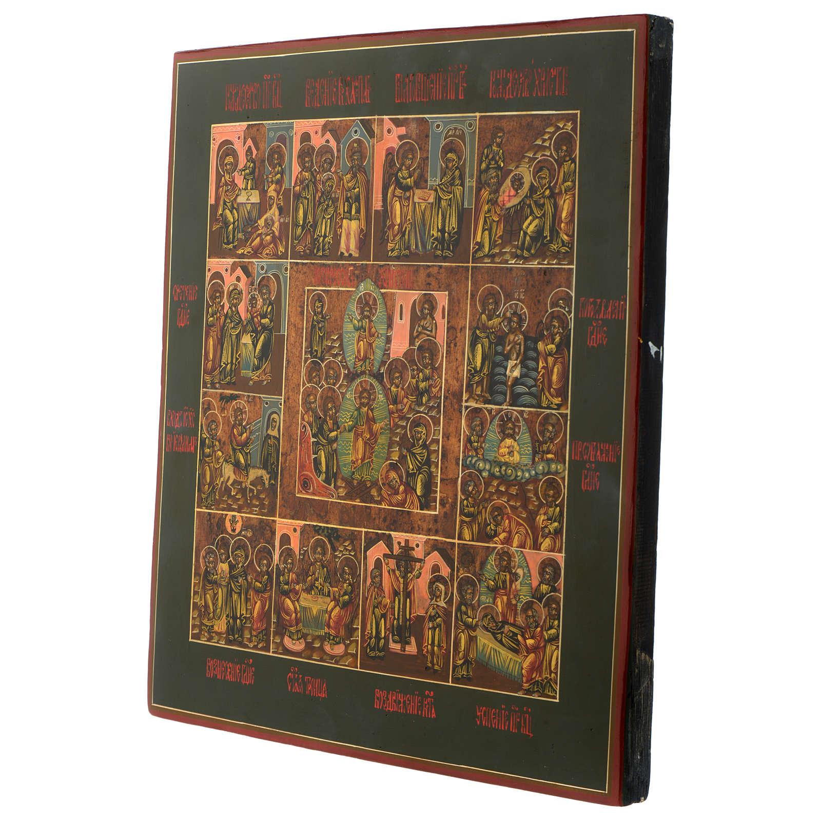 Icona antica russa Dodici Feste 30x40 cm epoca zarista restaurata 4