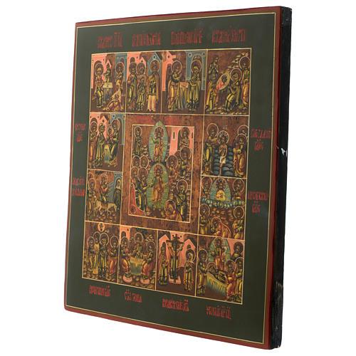 Icona antica russa Dodici Feste 30x40 cm epoca zarista restaurata 3