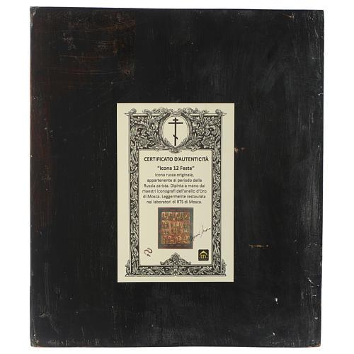 Icona antica russa Dodici Feste 30x40 cm epoca zarista restaurata 5