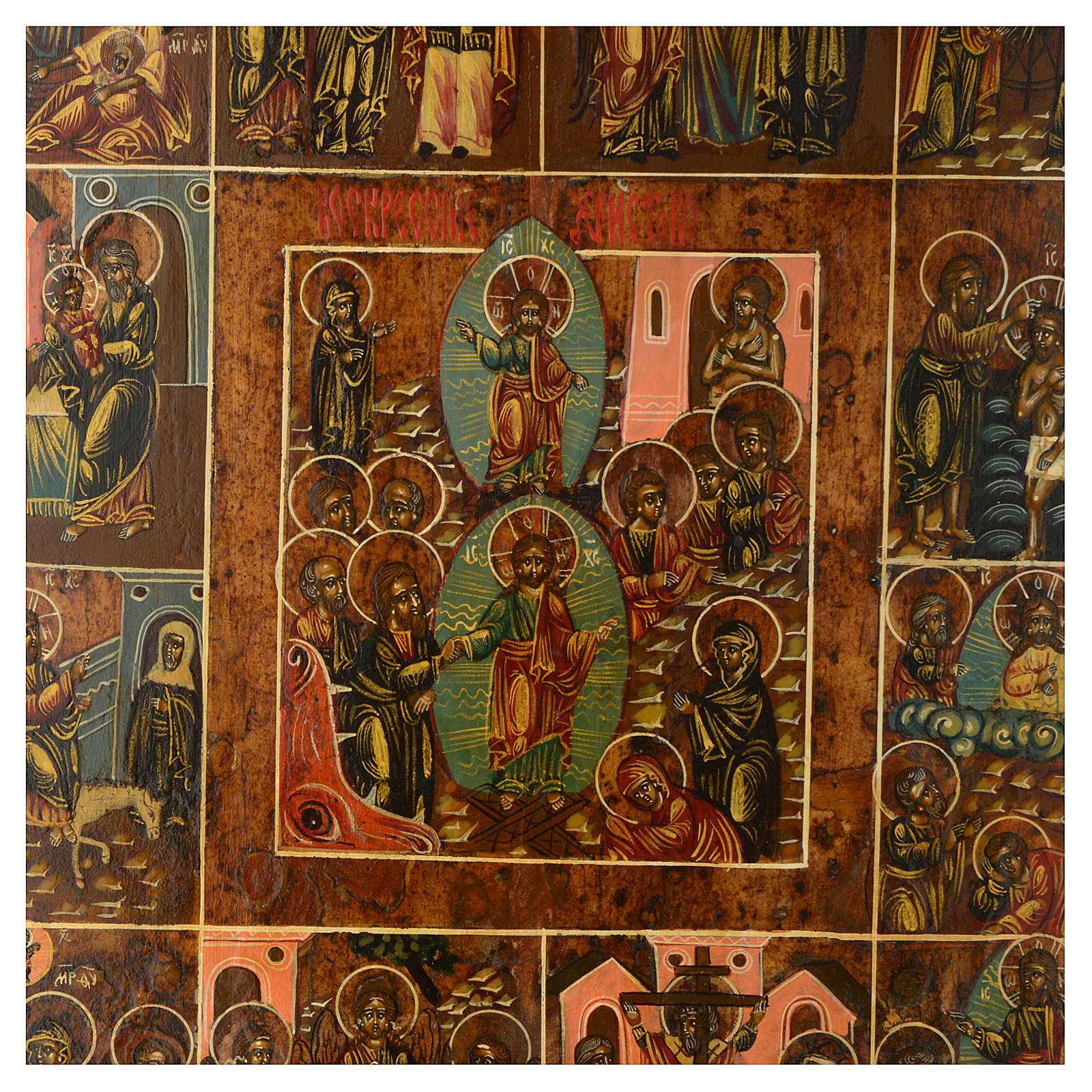 Twelve Grat Feasts ancient Russian icon 12x10 inc restored 4