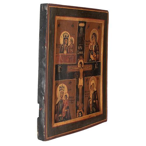 Icona antica restaurata Santa Trinità 30x25 cm Russia 3