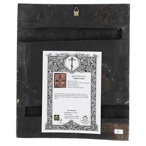 Icona antica restaurata Santa Trinità 30x25 cm Russia 4