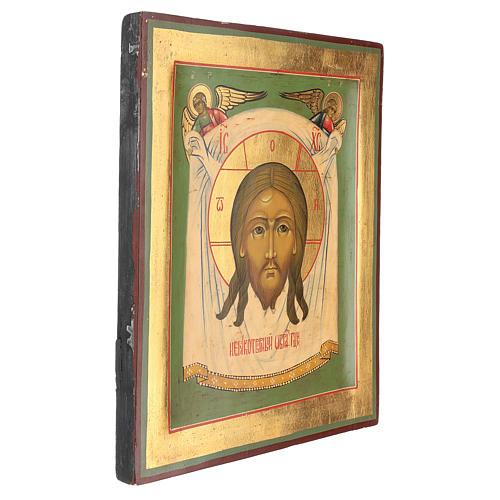 Icona antica restaurata Volto di Cristo 30x25 cm Russia 3