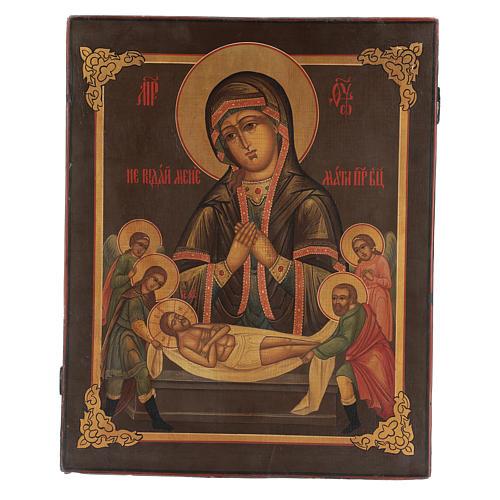 Icona antica russa restaurata Non piangere per me 45x35 cm 1