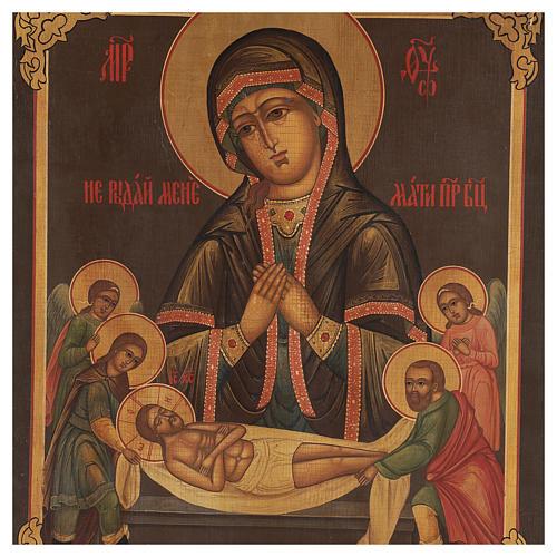 Icona antica russa restaurata Non piangere per me 45x35 cm 2