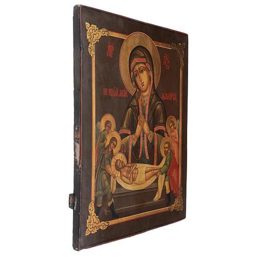 Icona antica russa restaurata Non piangere per me 45x35 cm 3