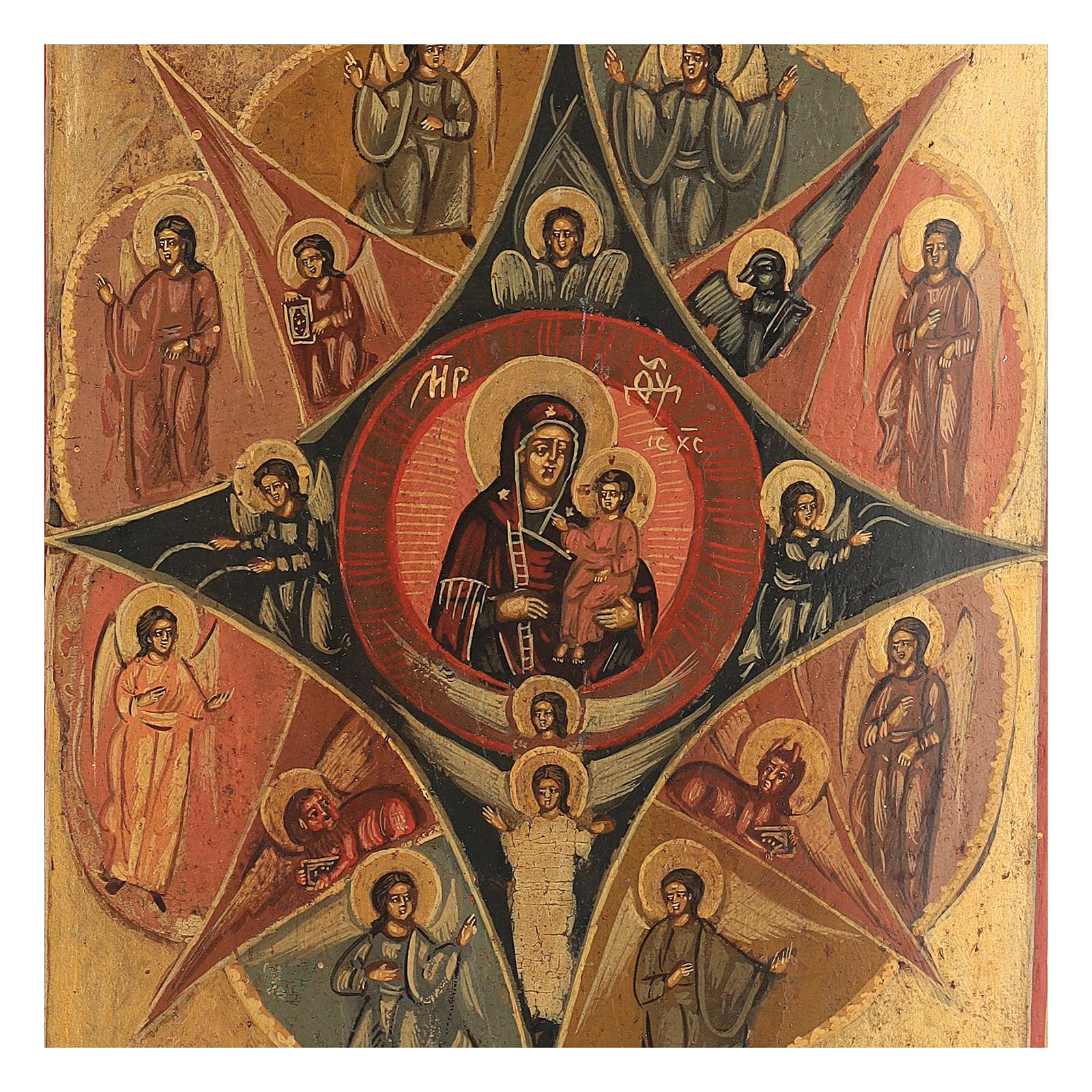 Icona russa antica dipinta Roveto Ardente 30x25 cm 4