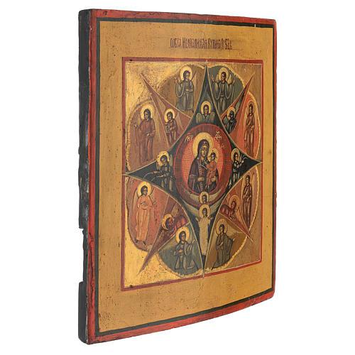 Icona russa antica dipinta Roveto Ardente 30x25 cm 3