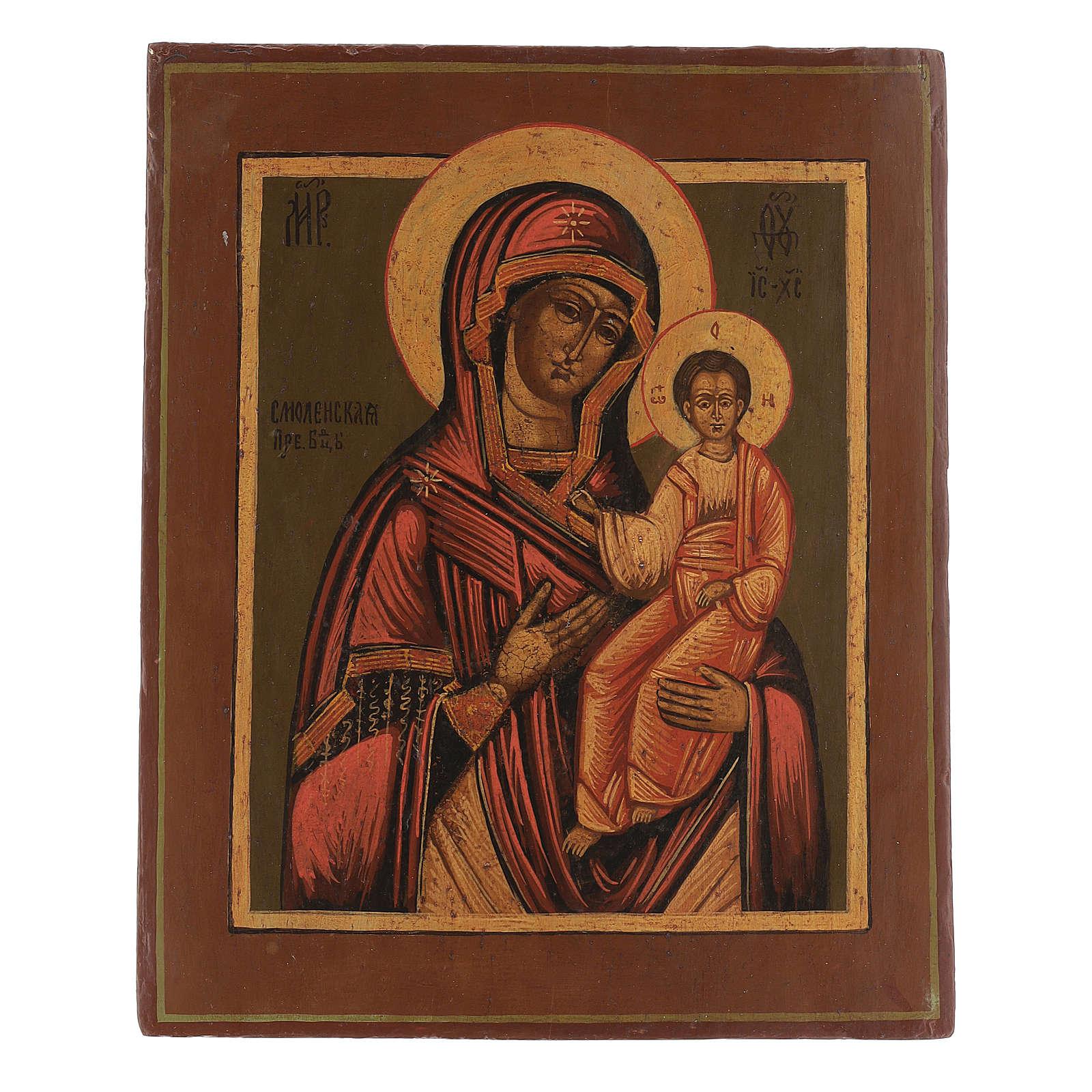 Icona antica restaurata Madonna di Smolensk 35x25 cm Russia 4