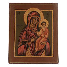 Icona antica restaurata Madonna di Smolensk 35x25 cm Russia s1