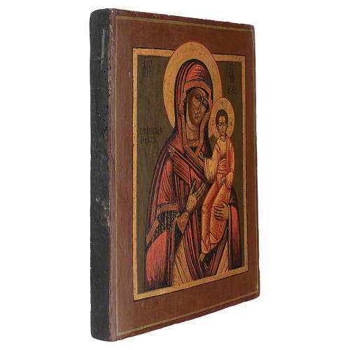 Icona antica restaurata Madonna di Smolensk 35x25 cm Russia 3