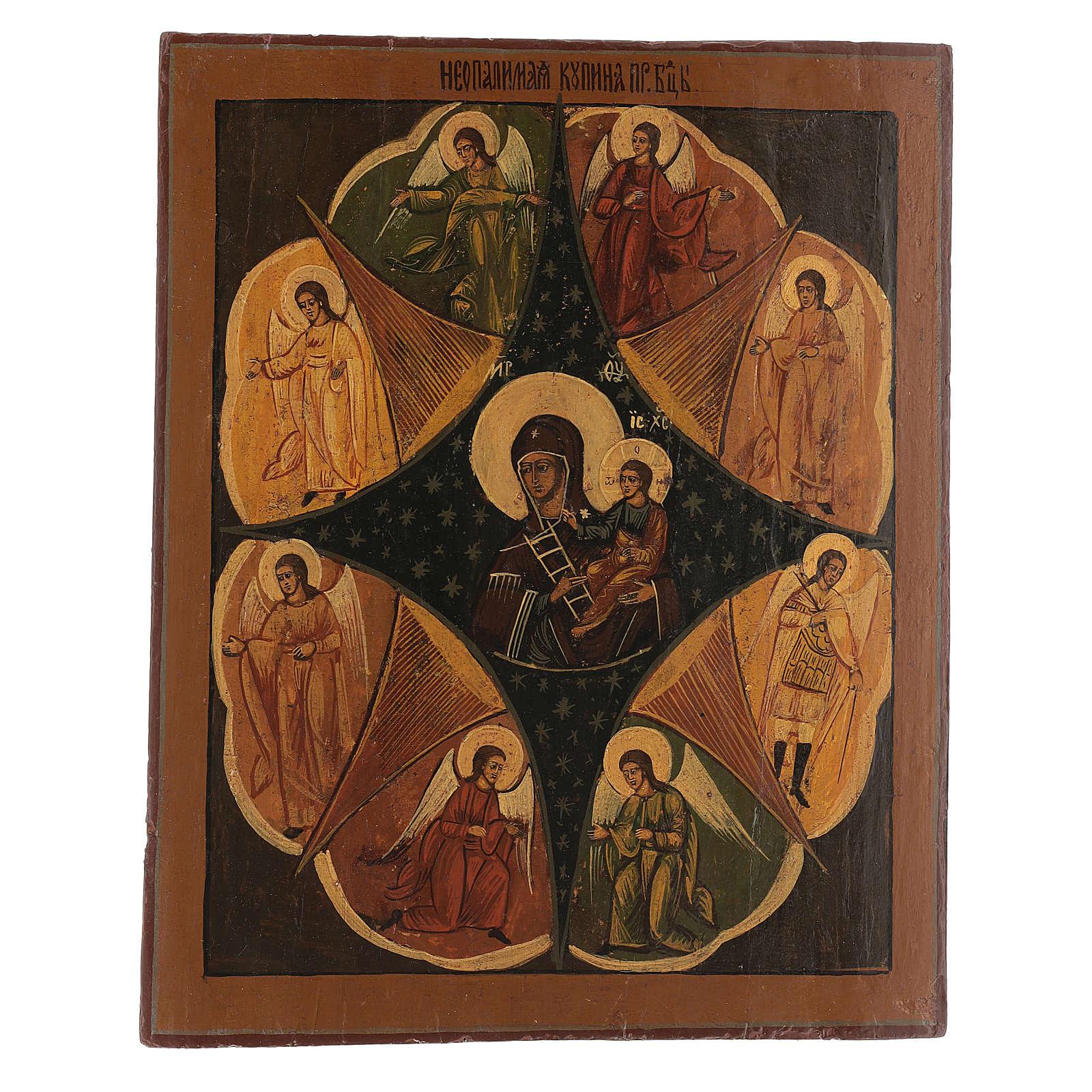 Icona antica russa Roveto Ardente Restaurata 40x35 cm 4
