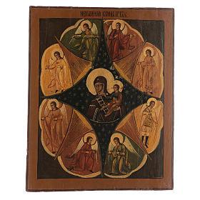 Icona antica russa Roveto Ardente Restaurata 40x35 cm s1