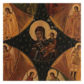 Icona antica russa Roveto Ardente Restaurata 40x35 cm s2