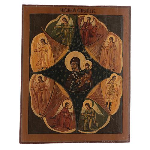 Icona antica russa Roveto Ardente Restaurata 40x35 cm 1