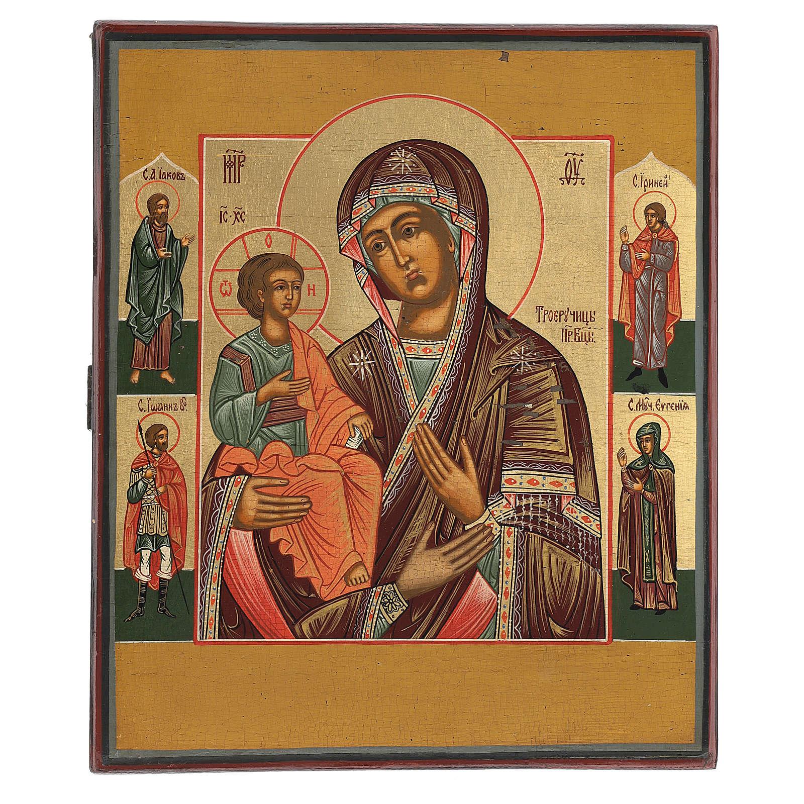 Icona antica Restaurata Madonna delle Tre Mani 30x25 cm Russia 4