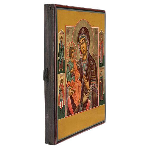 Icona antica Restaurata Madonna delle Tre Mani 30x25 cm Russia 3