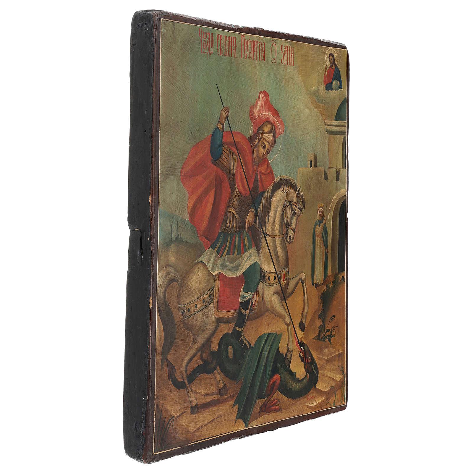 Icona antica San Giorgio dipinta restaurata 40x30 cm Russia 4