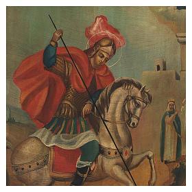 Icona antica San Giorgio dipinta restaurata 40x30 cm Russia s2