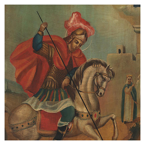 Icona antica San Giorgio dipinta restaurata 40x30 cm Russia 2