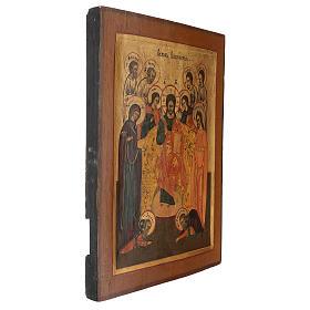 Icona antica restaurata Cristo Pantocratore 40x30 cm Russia zarista s3