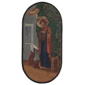 Icona antica Annunciazione XIX secolo fondo oro 50x25 cm s1