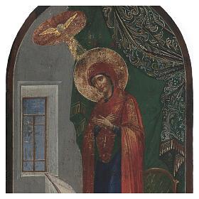 Icona antica Annunciazione XIX secolo fondo oro 50x25 cm s2