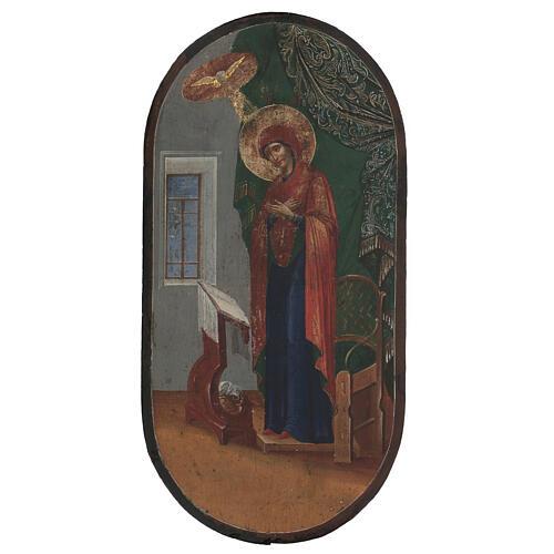 Icona antica Annunciazione XIX secolo fondo oro 50x25 cm 1