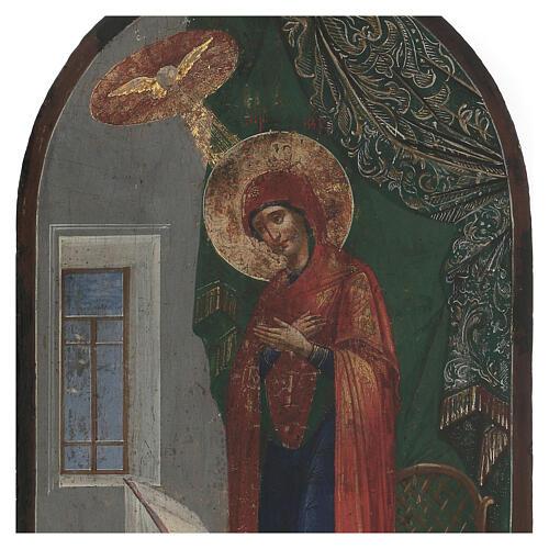 Icona antica Annunciazione XIX secolo fondo oro 50x25 cm 2