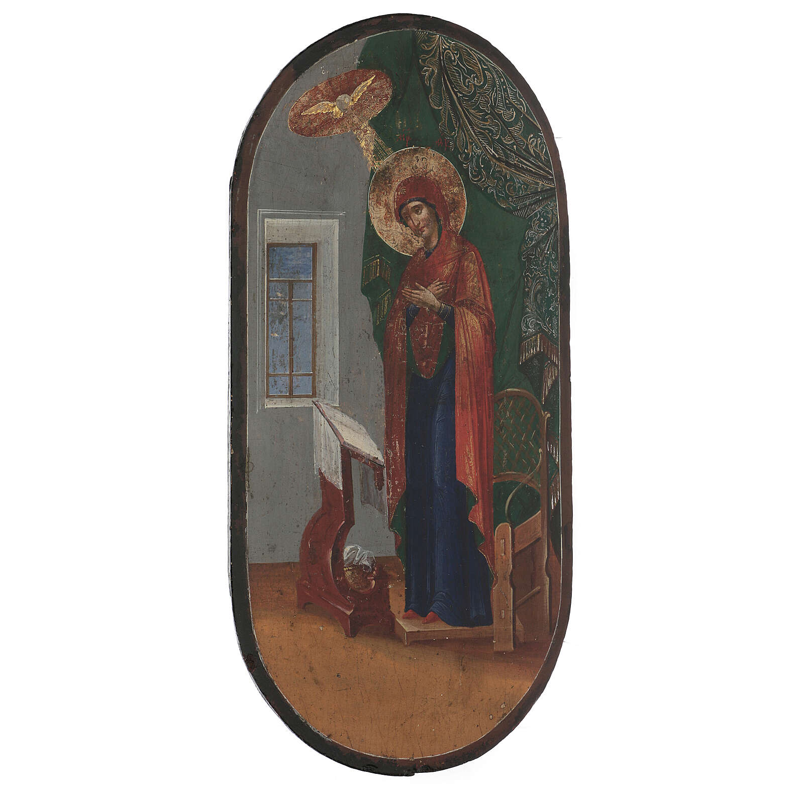 Antique icon of Annunciation XIX century, gold background 50x25 cm 4