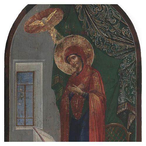 Antique icon of Annunciation XIX century, gold background 50x25 cm 2