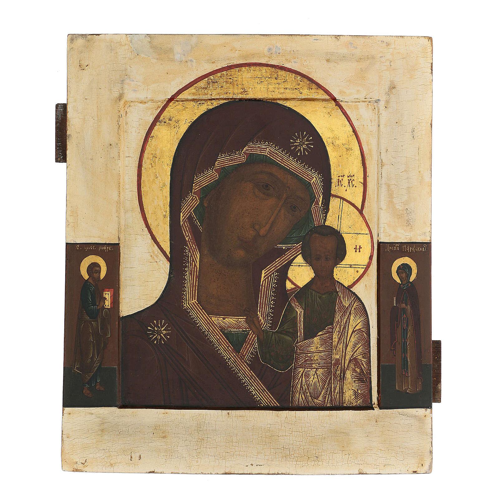 Icona antica russa Madre di Dio di Kazan XIX secolo 32x26 cm 4