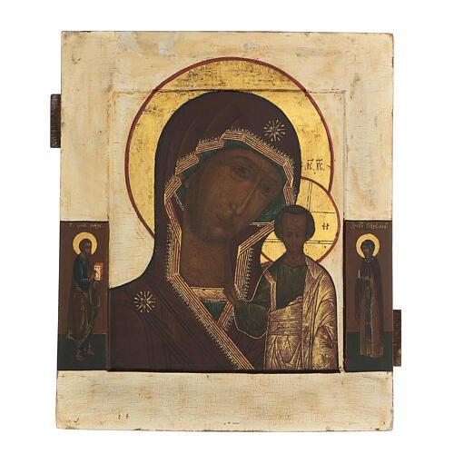 Icona antica russa Madre di Dio di Kazan XIX secolo 32x26 cm 1