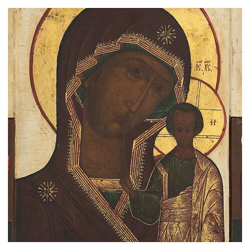 Icona antica russa Madre di Dio di Kazan XIX secolo 32x26 cm 2