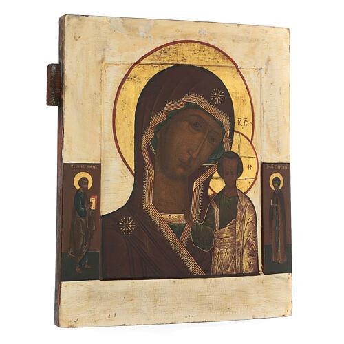 Icona antica russa Madre di Dio di Kazan XIX secolo 32x26 cm 3