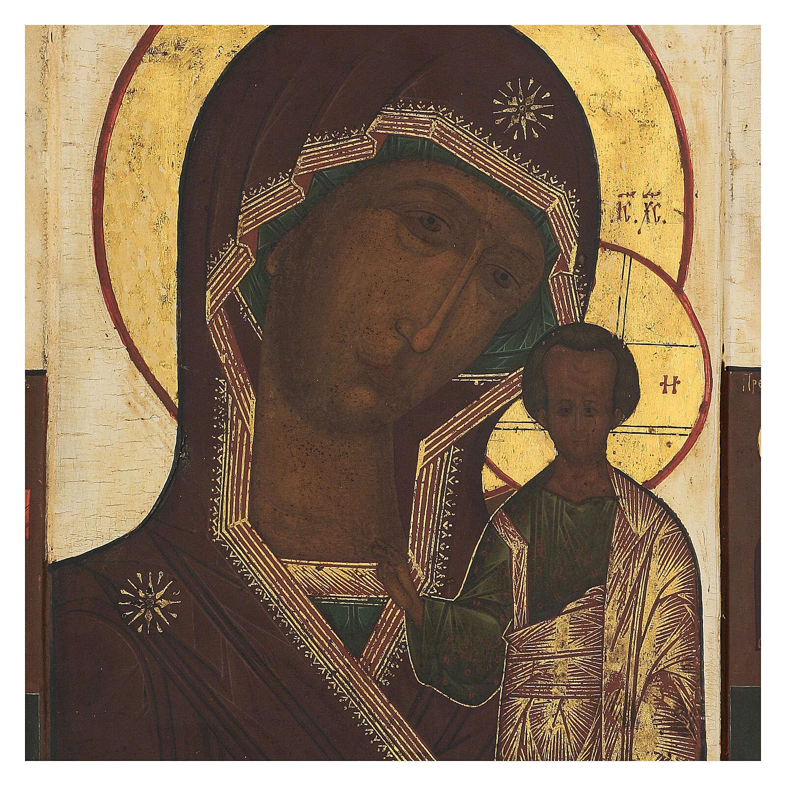 Antique Russian icon Mother of God of Kazan XIX century, 32x26 cm 4
