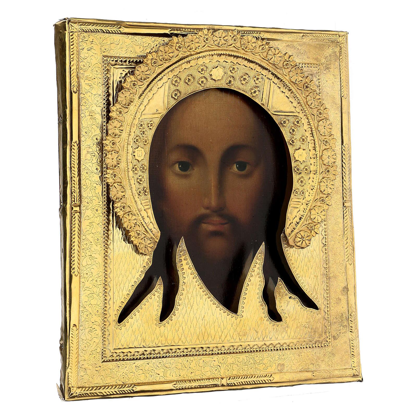Acheiropoieta antique Russian icon 1872, Holy Face with riza 84 zolot, 32x28 cm 4