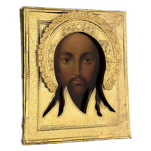 Acheiropoieta antique Russian icon 1872, Holy Face with riza 84 zolot, 32x28 cm 5