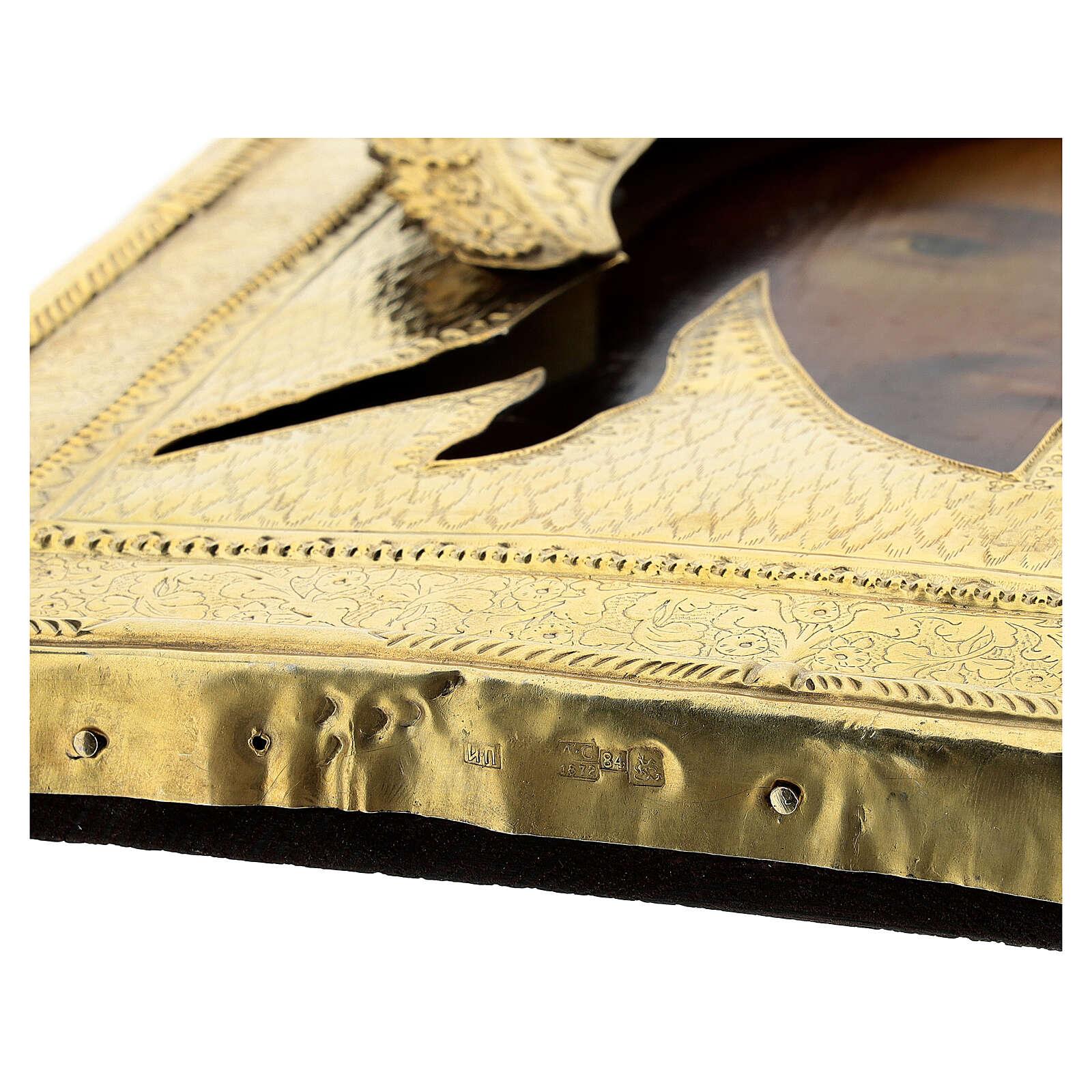 Icona antica russa Acheropita Volto Santo 1872 con riza 84 zolot 32x28 cm 4