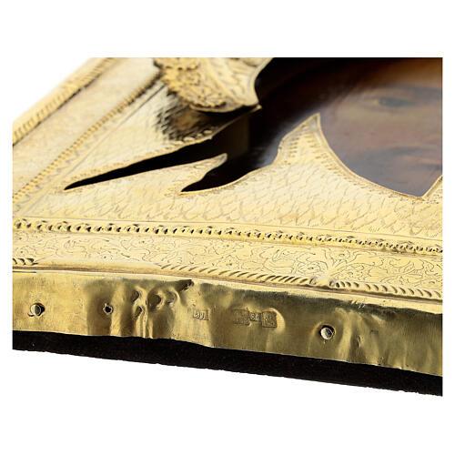Icona antica russa Acheropita Volto Santo 1872 con riza 84 zolot 32x28 cm 6