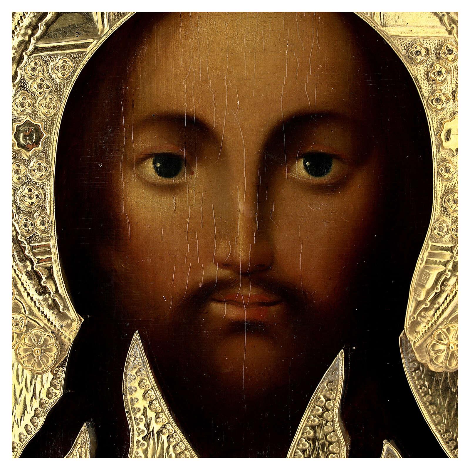 Ícone russo antigo Acheiropoieta Santa Face de Jesus 1872 com riza 84 zolot 32x28x2 cm 4