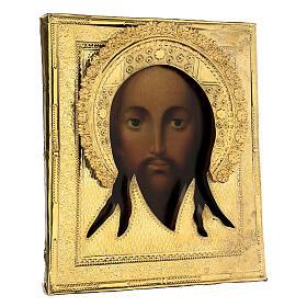 Ícone russo antigo Acheiropoieta Santa Face de Jesus 1872 com riza 84 zolot 32x28x2 cm s5