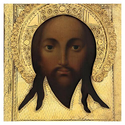 Ícone russo antigo Acheiropoieta Santa Face de Jesus 1872 com riza 84 zolot 32x28x2 cm 2